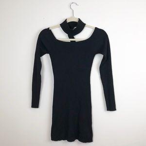 Missguided Black Ribbed Bodycon Dress Choker Six 6